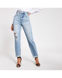 River Island Blue Ripped Carrie High Rise Mom Jeans
