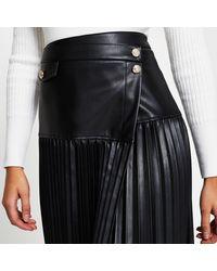 River Island Black Wrap Front Pleated Midi Skirt