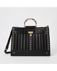 River Island Studded Cut Out Tote Bag - Black
