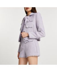 River Island Purple Boucle Long Sleeve Jacket