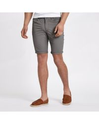 River Island - Grey Mink Skinny Chino Shorts - Lyst