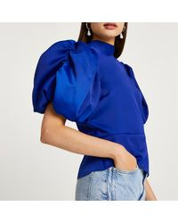River Island Puff Sleeve Tie Back Blouse Top - Blue