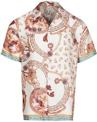 River Island Pink Scarf Print Revere Shirt