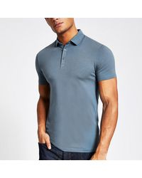 River Island Blue Muscle Fit Polo Shirt