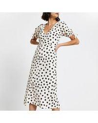 River Island Cream Asymmetric Wrap Midi Spot Print Dress - Natural