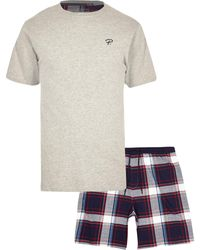 River Island Prolific Gray Check Pajama Set