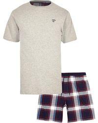 River Island - 'prolific' Check Pajama Set - Lyst