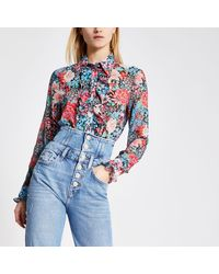 River Island Floral Frill Front Long Sleeve Shirt - Blue