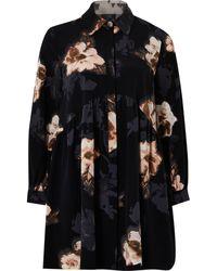 River Island Petite Black Floral Shirt Smock Mini Dress