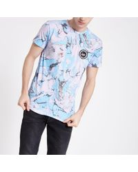 River Island Hype Light Blue Marble Print T-shirt