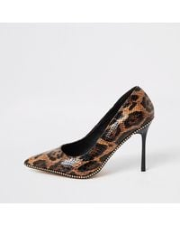 River Island Brown Leopard Print Beaded Heeled Court Shoes