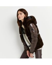 River Island Brown Faux Fur Belted Puffer Coat