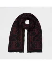 "River Island Red Oversized ""rr"" Monogram Scarf"
