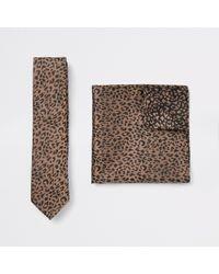 River Island - Satin Tie And Leopard Handkerchief Set - Lyst