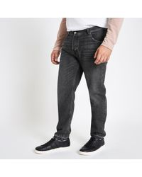 River Island - Big And Tall Washed Black Tapered Jeans - Lyst