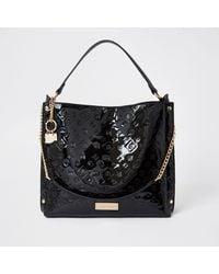 River Island Black Patent Embossed Slouch Handbag