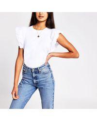 River Island White Scallop Edge T-shirt