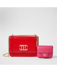 River Island Red Embossed Satchel With Detachable Pouch