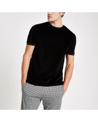 ff0566bfab20 River Island - Slim Fit Piped Crew Neck Velour T-shirt - Lyst