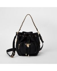 River Island Black Pocket Front Bucket Bag
