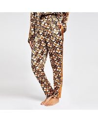 River Island Brown Ri Print Satin Pajama Trouser