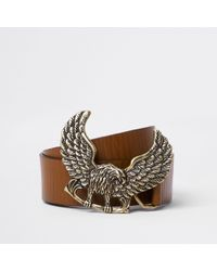 River Island - Brown Tan Leather Eagle Buckle Belt - Lyst