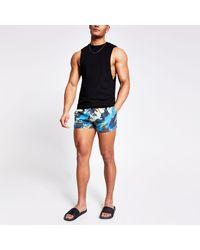 River Island Black Abstract Printed Swim Shorts