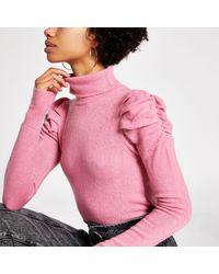 River Island Pink Puff Sleeve Roll Neck Jumper