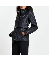 River Island Black Faux Leather Quilted Padded Jacket