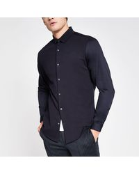 River Island - Ribbed Collar Slim Fit Jersey Shirt - Lyst