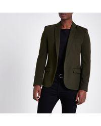 River Island - Dark Green Stretch Muscle Fit Suit Jacket Dark Green Stretch Muscle Fit Suit Jacket - Lyst