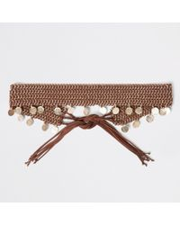 River Island - Brown Woven Coin Chain Tie Up Belt Brown Woven Coin Chain Tie Up Belt - Lyst