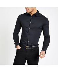 River Island Black Long Sleeve Muscle Fit Shirt