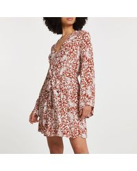 River Island Red Floral Wrap Front Mini Dress