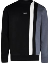 River Island Black Color Block Slim Fit Sweatshirt