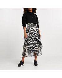 River Island Black Zebra Print Maxi Ruffle Skirt
