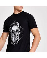River Island Mcmlx Skull Printed Slim Fit T-shirt - Black