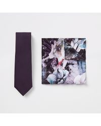 River Island - Purple Satin Tie And Floral Handkerchief Set - Lyst
