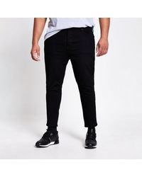 River Island Big And Tall Black Jimmy Tapered Cropped Jean