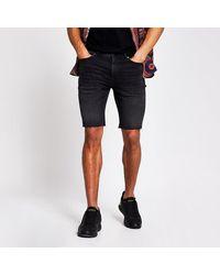 River Island Cut Off Sid Skinny Denim Shorts - Black