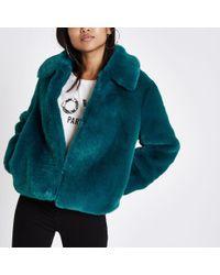 River Island Petite Teal Blue Plush Faux Fur Coat