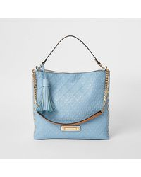 River Island Blue Embossed Slouch Bag