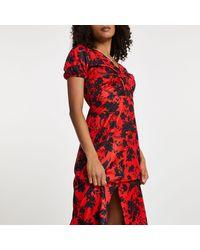River Island - Red Floral Twist Front Midi Dress - Lyst