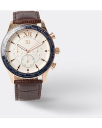 River Island Brown Leather Rose Gold Face Watch - White