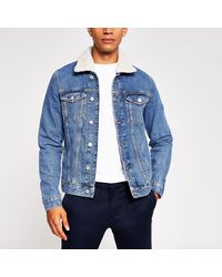 River Island Blue Borg Collar Denim Jacket