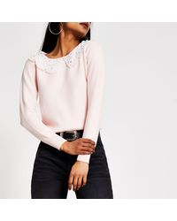 River Island Petite Pink Broderie Pearl Collar Knit Jumper