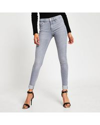 River Island Gray Molly Mid Rise Turn Up Denim Jeans