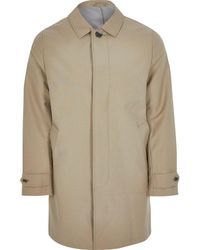 River Island Stone Concealed Button Longline Mac - Natural