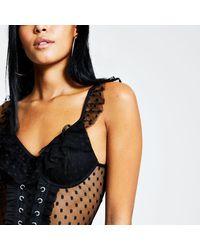 River Island Polka Dot Mesh Lace-up Corset Bodysuit - Black