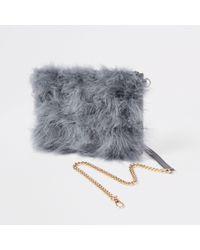 River Island - Grey Marabou Fur Cross Body Pouch Bag - Lyst